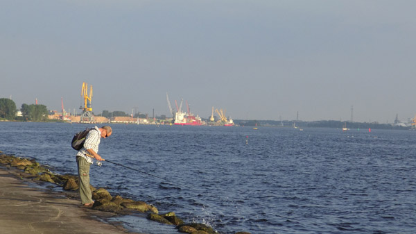 Fishing in coastal Riga