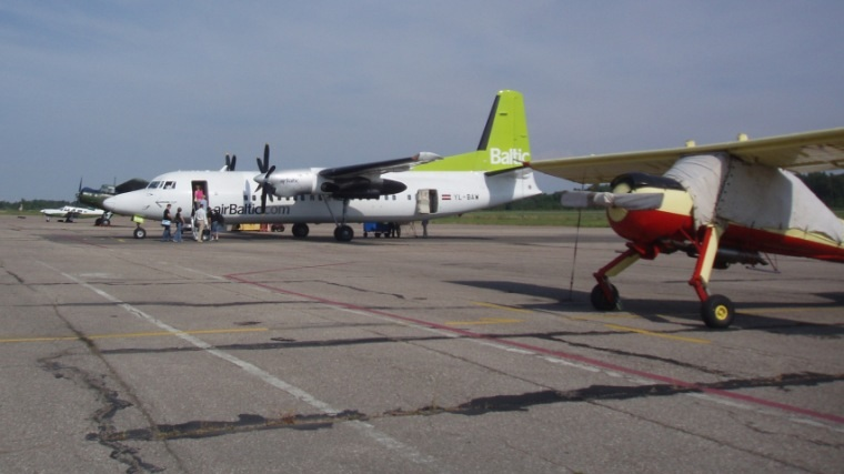 Air Baltic plane in Liepāja airport in 2008