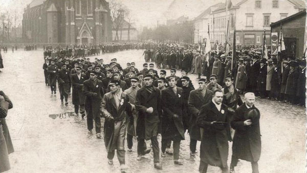 Mostly ethnic Latvian college students parading in Liepāja of 1939