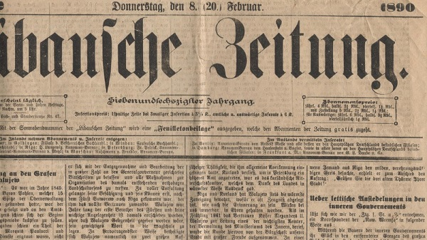 Local German newspaper of 1890