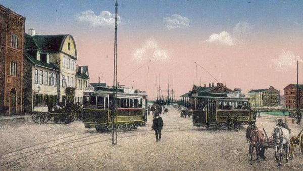 Electric trams in 1910 Liepāja.
