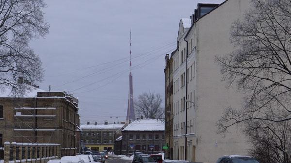 Riga TV tower rising above the Maskavas suburb