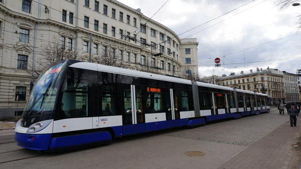 A modern tram in Riga