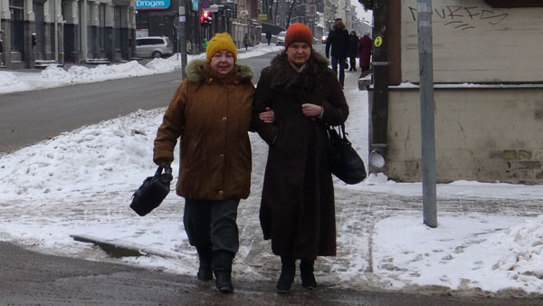 Women clothed for a cold winter (-10 C) in Riga
