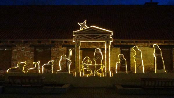 A stylized nativity scene of Christ bith in Ventspils Old Town