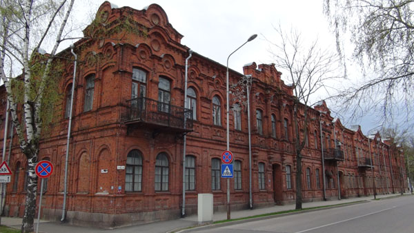 Elaborate red brick building in Daugavpils downtown