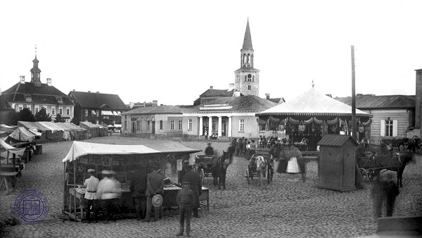 Jelgava market in 1892 as the city's expansion progressed