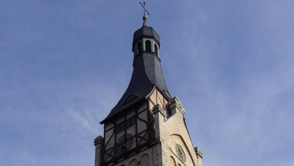 German national romantic top of a Dubulti church spire in Jūrmala