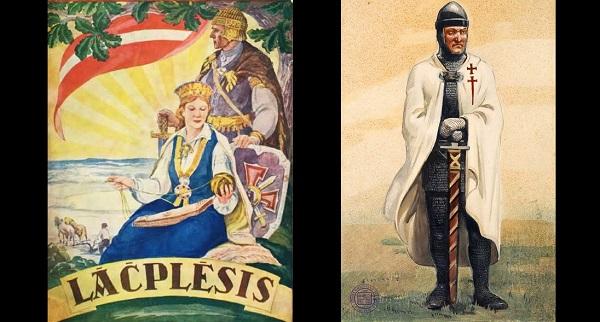 Mythical Latvian hero Lāčplēsis and a German knight.