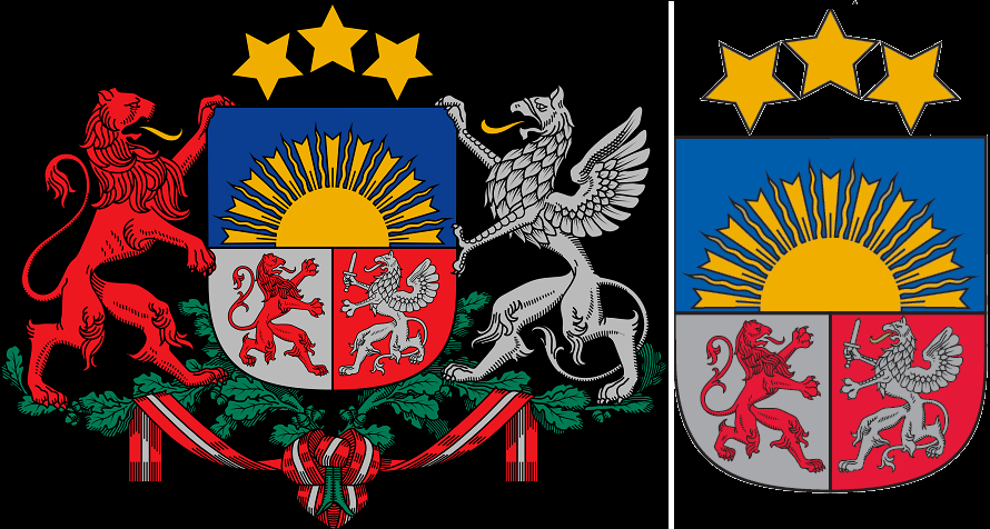 Largest (left) and smallest (right) versions of the Latvian coat of arms