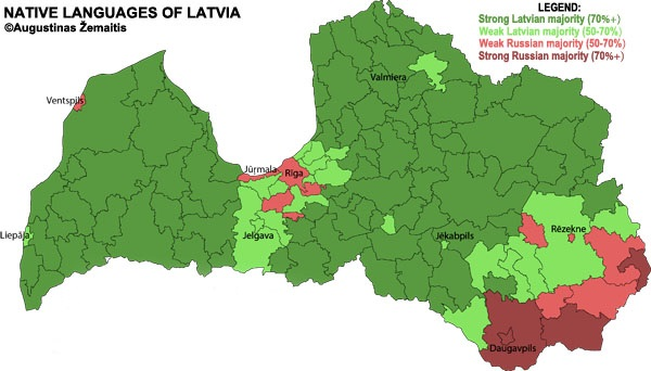Map of majority languages in each Latvian region