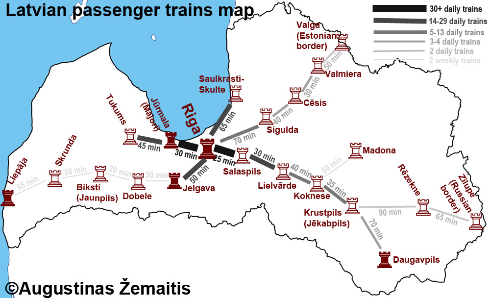 The map of Latvian passenger railways