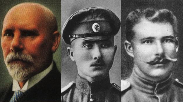Left to right: Jānis Čakste, Frīdrihs Briedis, Oskars Kalpaks