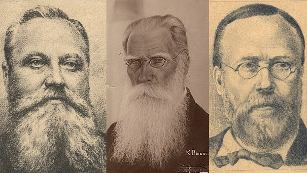 Left to right: Andrejs Pumpurs, Krišjānis Barons and Krišjānis Valdemārs