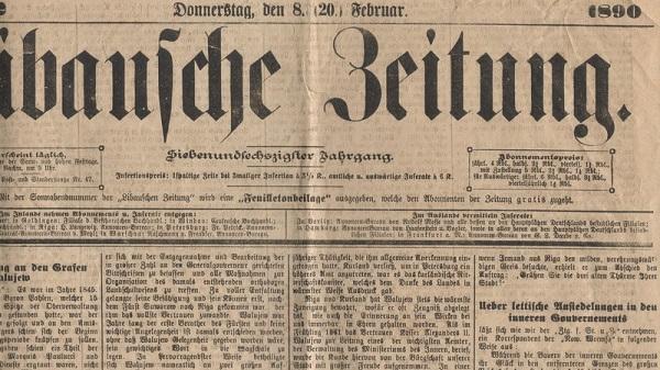 Local German newspaper of 1890