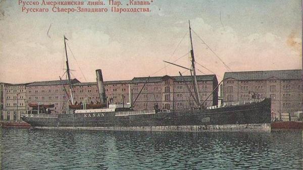 New York-bound steamship in Liepāja port in 1900