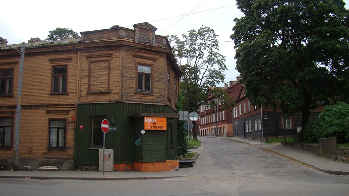 Wooden 19th century apartment buildings in Pardaugava
