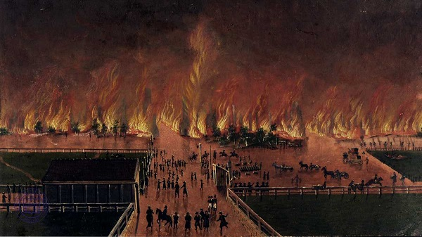 Riga suburbs burning in 1812