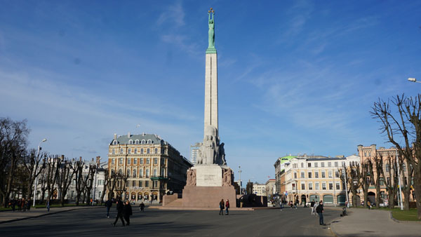 Freedom monument between Center and Old Town of Riga