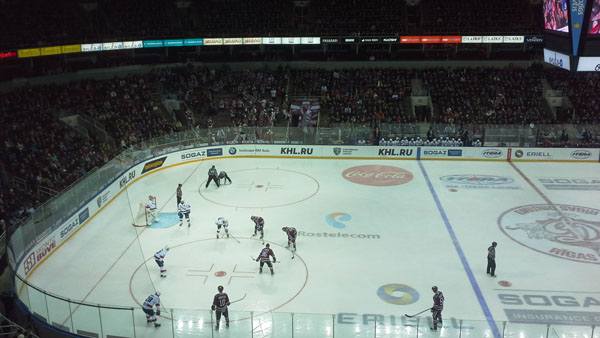 Riga Dinamo plays a nearly sold out KHL game against Saint Petersburg ASK in Riga