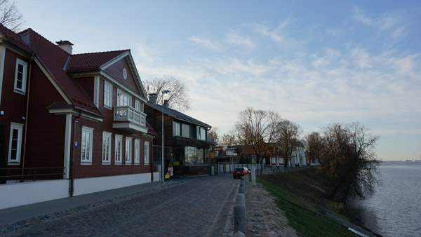 The cobbled Daugava bank street in Kipsala