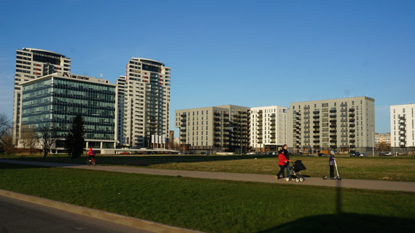 New residential buildings around Riga Arena